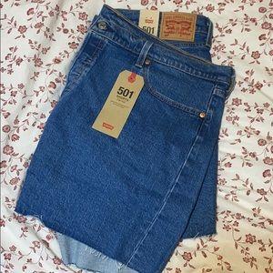 Plus sized denim Levi 501 high waisted shorts